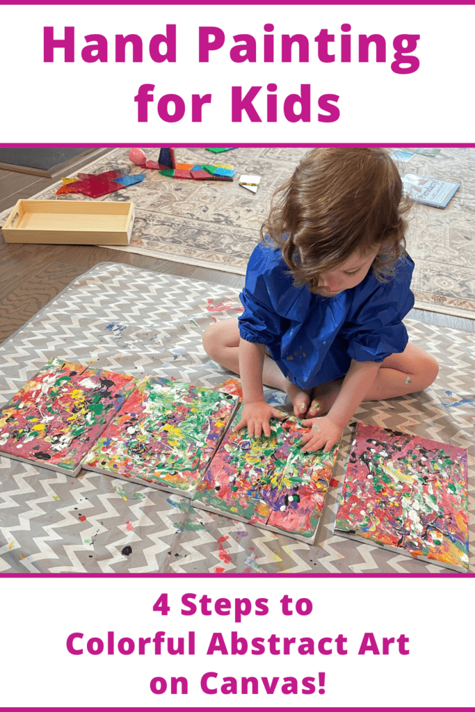 pintura a mano para niños, actividad para niños en edad preescolar Montessori, actividad para niños Montessori, arte, lienzo, pintura acrílica, la quinta capa de pintura, mezcla de colores, verde y amarillo