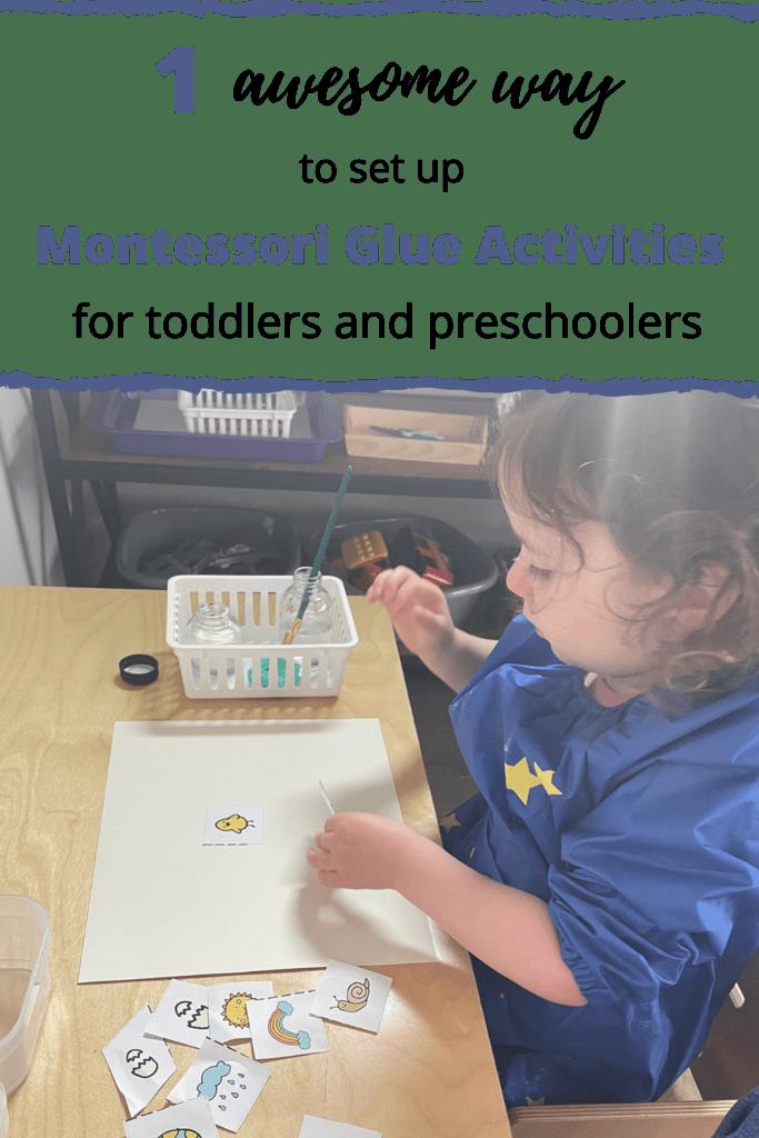 Actividades de pegamento Montessori para niños pequeños y preescolares, guardería, pegamento, bandeja de pegamento, 2 años y 7 meses