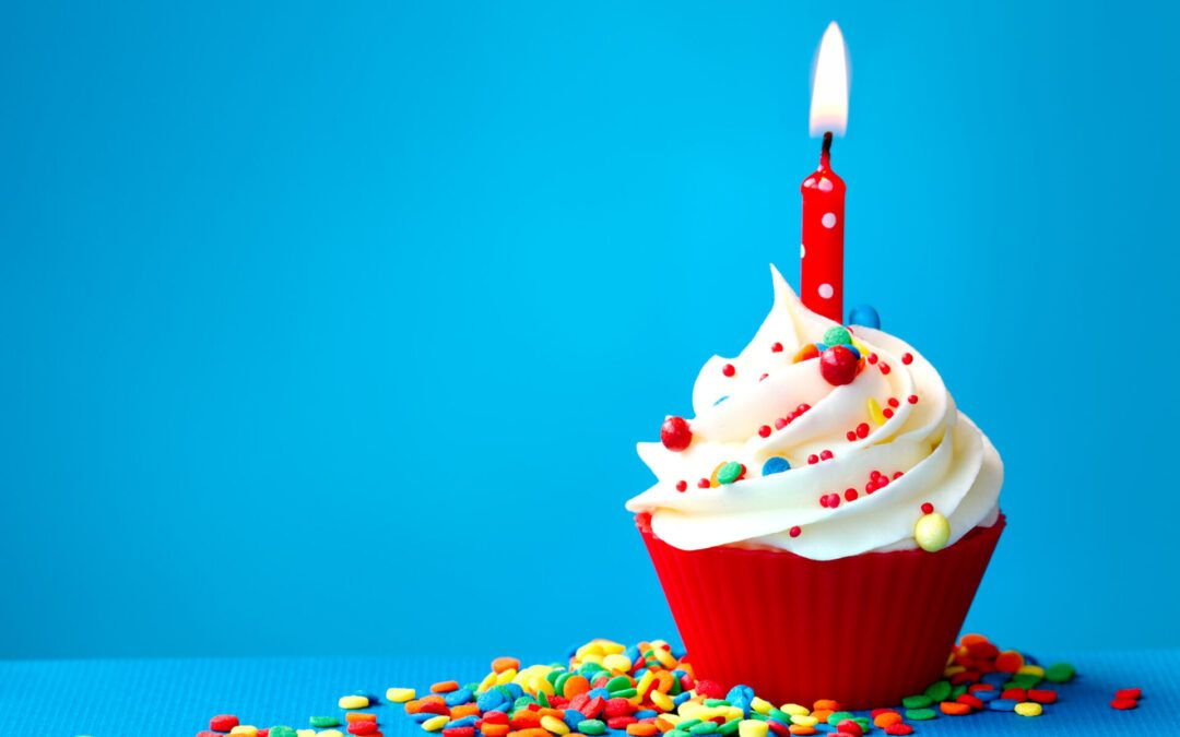 image of candle in cupcake.