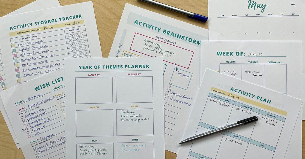 planificador de educación en el hogar, montessori, educación en el hogar, preescolar, preescolar, actividades para niños, organización, planificación