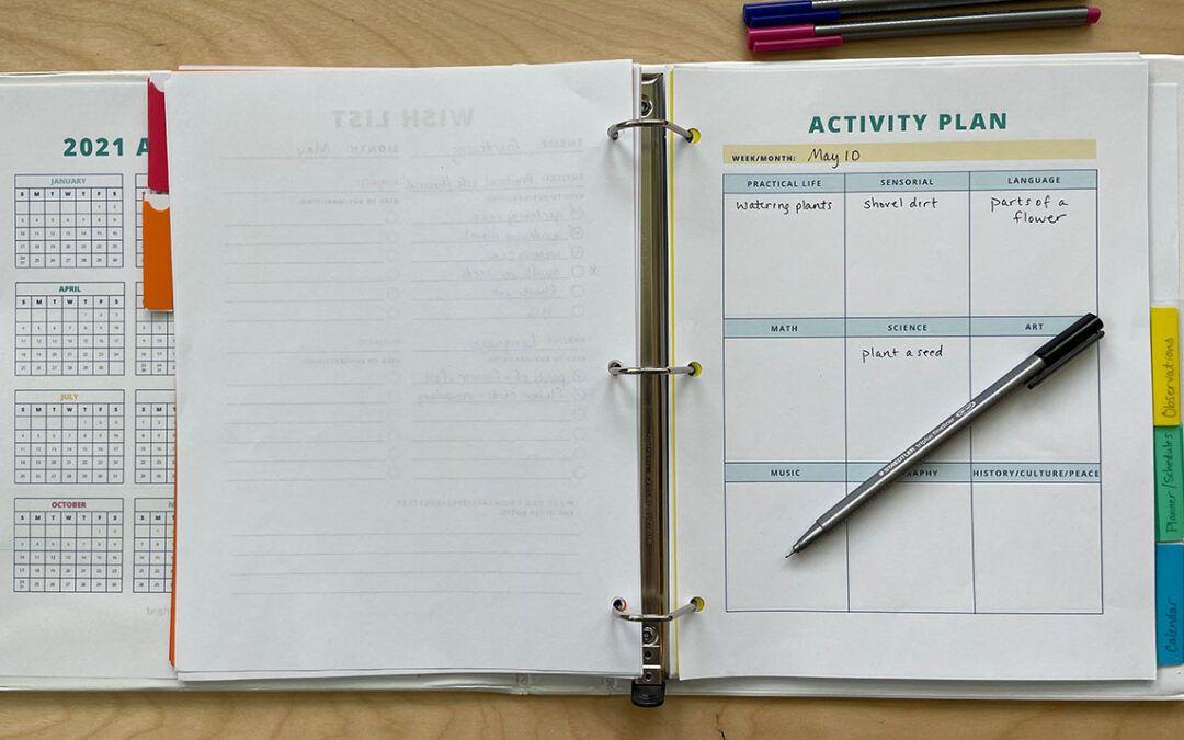 homeschool planner, montessori, homeschooling, preschool, kindergarten, toddler activities, organize, schedule