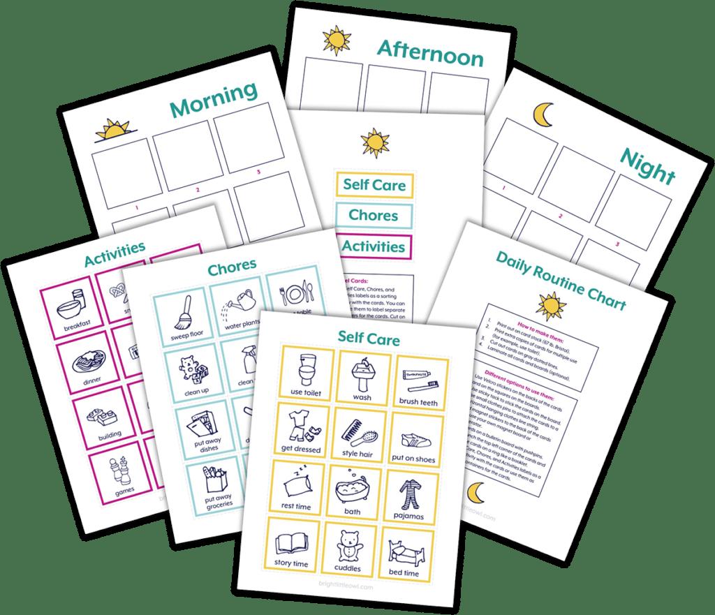 Currículo de lenguaje Montessori, tabla de rutina diaria para niños