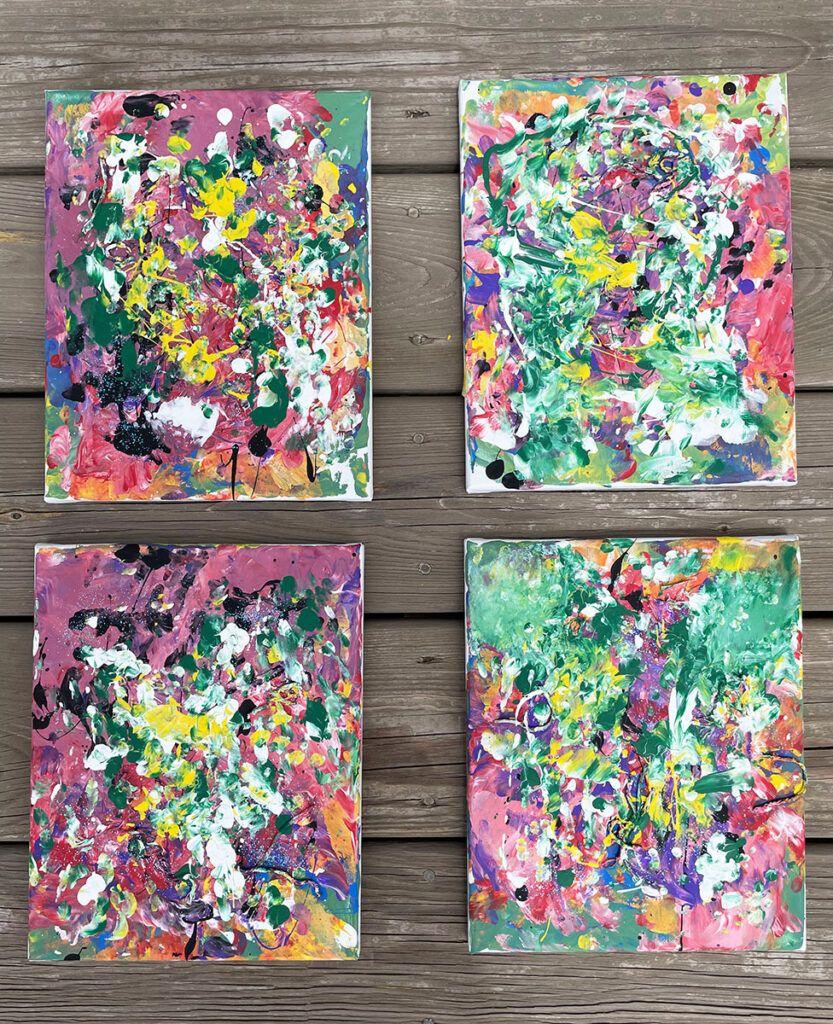 pintura a mano para niños, actividades para niños en edad preescolar Montessori, actividades para niños Montessori, arte, lienzo, pintura acrílica, mezcla de colores, lienzos terminados