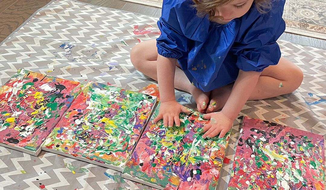 hand painting for kids, Montessori preschooler activities, Montessori toddler activities, art, canvas, acrylic paint, the fifth layer of paint, color mixing, green and yellow
