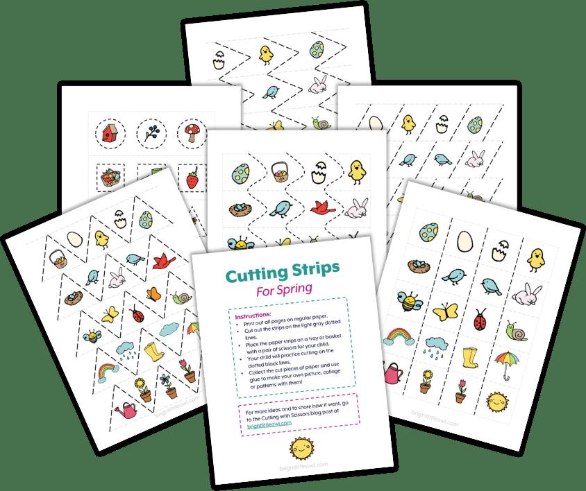 tiras de corte, actividades para niños pequeños, actividades montessori, jardín de infantes