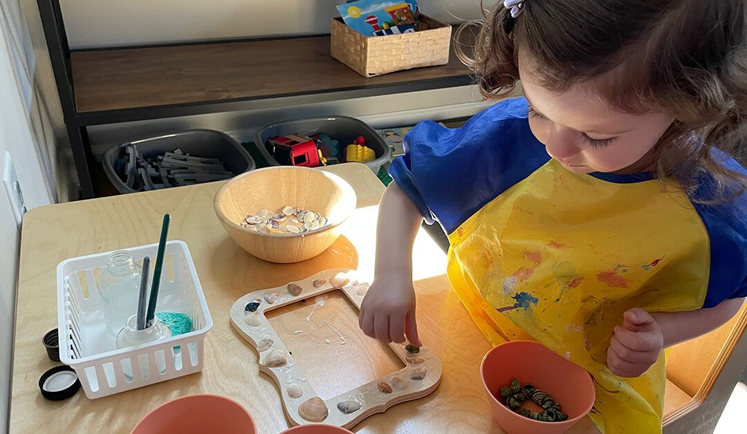 montessori fine motor activities, seashells, ocean theme, 3 year old, glue, collage, picture frame