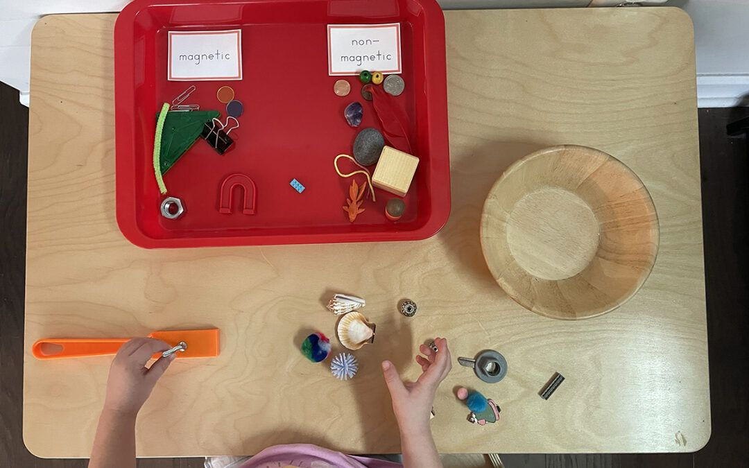 magnetic activities, Montessori, magnetic and non-magnetic, science, art, painting, preschoolers
