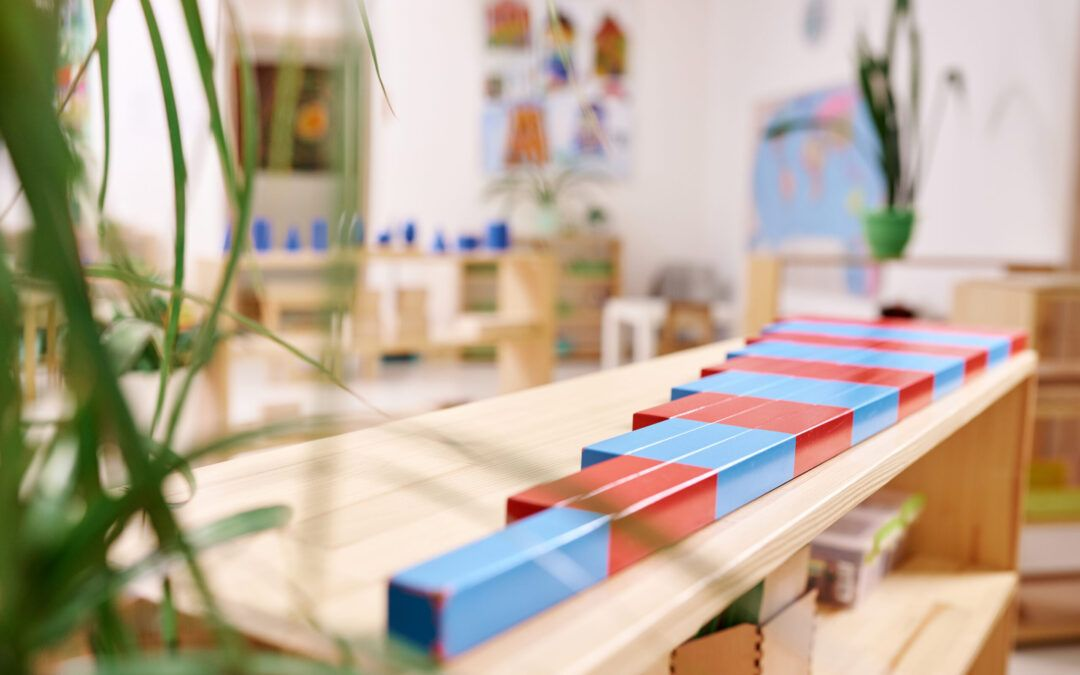 image of read and blue montessori number rods.