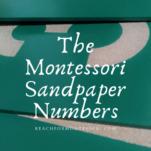 alfiler con números de papel de lija montessori.