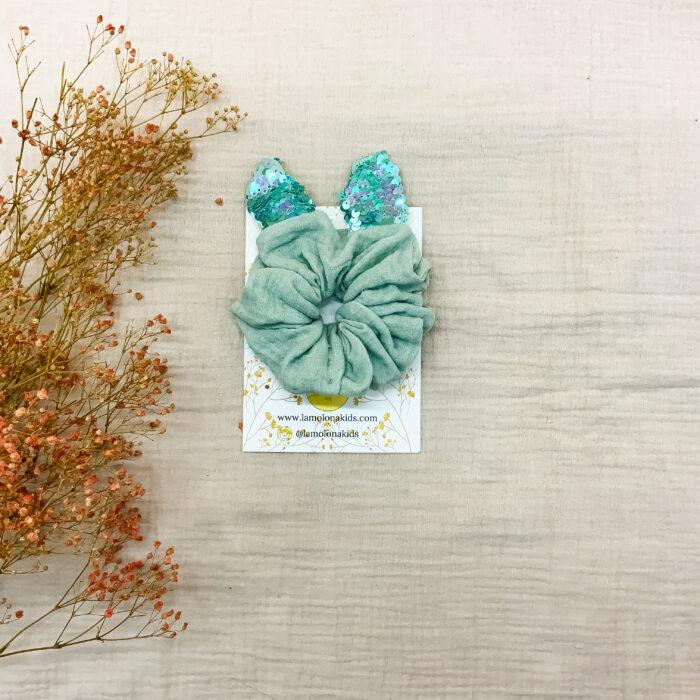 Scrunchie orgánico orejitas Mermaid