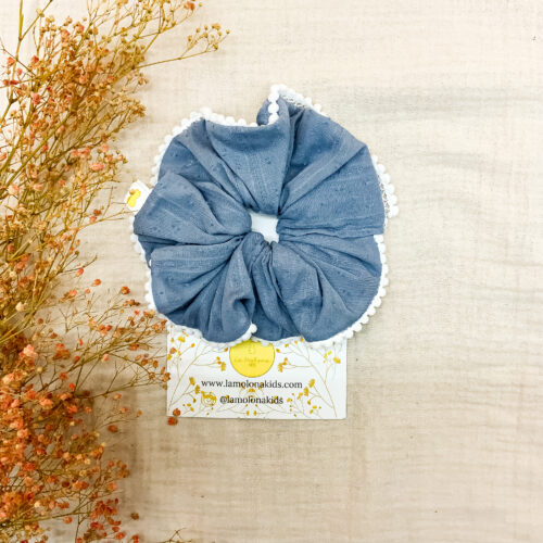 Maxi scrunchie plumetti azul
